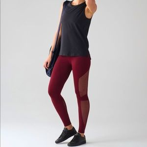 Lululemon Reveal 7/8 Tight Mesh Deep Rouge Pants